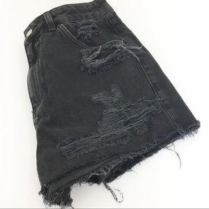 Mom Motto Black Distressed High Waist Jean Shorts